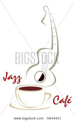 Coffee cup & Guitar music - collage