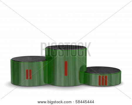 Green Reflective Cylindrical Sports Victory Podium With Red Roman Numerals. Front View