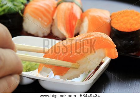 Chopsticks With Japanese Sushi