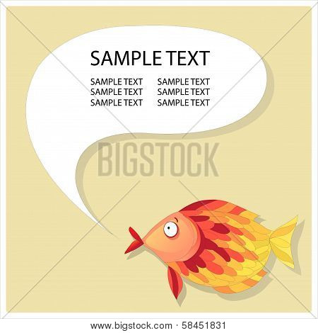 Abstract fish with speech bubble