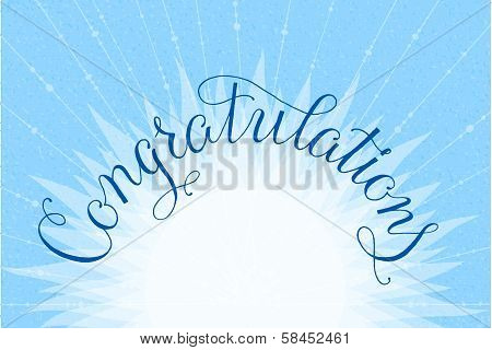 Congratulations lettering illustration hand written design on a lite-blue background