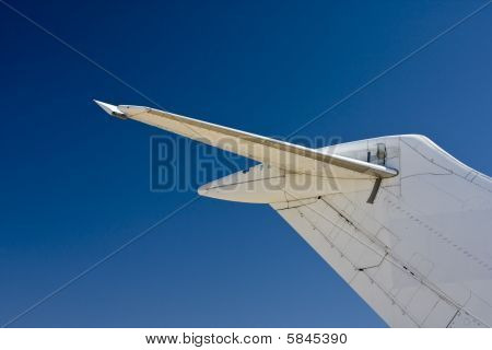 Tail end of airliner
