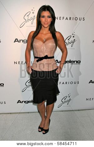 HOLLYWOOD - DECEMBER 11: Kim Kardashian at the Nefarious Fine Jewelry Spring 2007 Collection and Holiday Party on December 11, 2006 at Shag, Hollywood, CA.