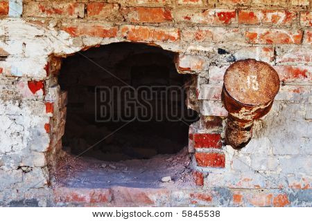 Old Grungy Brick Furnace Wall