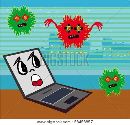 Computer Virus Attacking Laptop