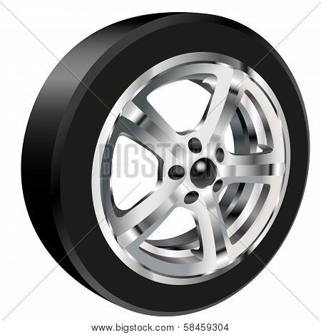 car wheel with a tire