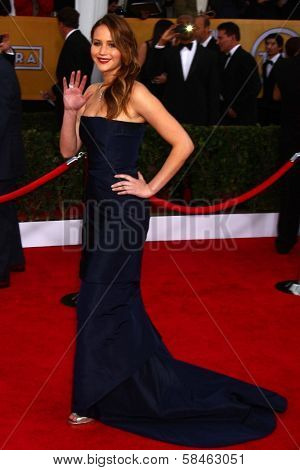 Jennifer Lawrence at the 19th Annual Screen Actors Guild Awards Arrivals, Shrine Auditorium, Los Angeles, CA 01-27-13