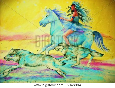 Indian Girl On Horse With Wolves
