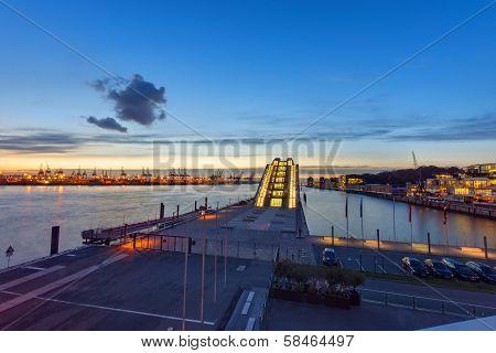 Hamburg harbour after sunset