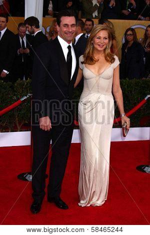 Jon Hamm, Jennifer Westfeldt at the 19th Annual Screen Actors Guild Awards Arrivals, Shrine Auditorium, Los Angeles, CA 01-27-13