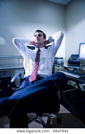 Young office worker taking a break