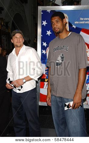 HOLLYWOOD - JULY 26: Mark Lucas and Tim Duncan at the Premiere Of