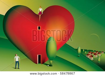 Woman sitting on a heart shaped house