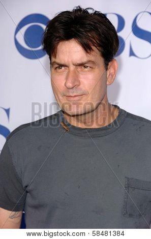 PASADENA - JULY 15: Charlie Sheen at CBS's TCA Press Tour at The Rose Bowl on July 15, 2006 in Pasadena, CA.