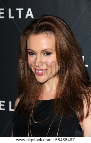 Alyssa Milano at Delta Airline's Celebration of LA's Music Industry, Getty House, Los Angeles, CA 02-07-13