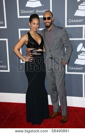 Alicia Keys, Swizz Beatz at the 55th Annual GRAMMY Awards, Staples Center, Los Angeles, CA 02-10-13