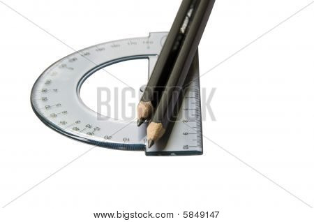 protractor and pencils