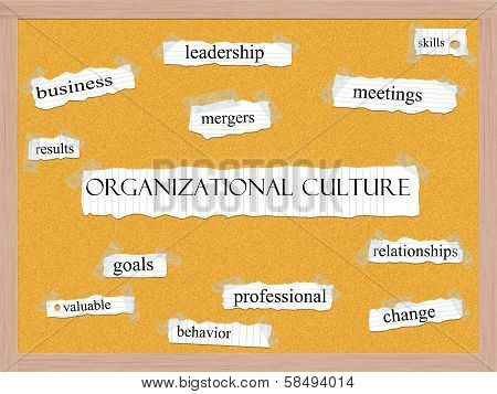 Organizational Culture Corkboard Word Concept