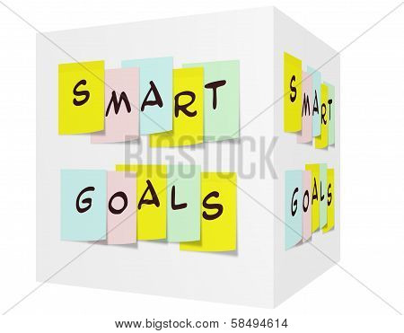 Smart Goals Written On Colorful Sticky Notes On A 3D Cube