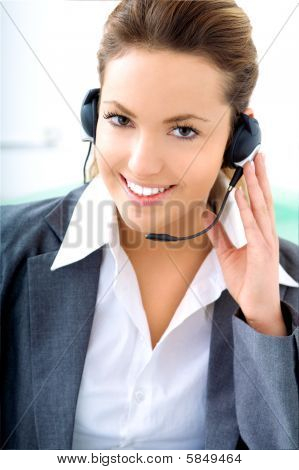 Blond Woman With Headset