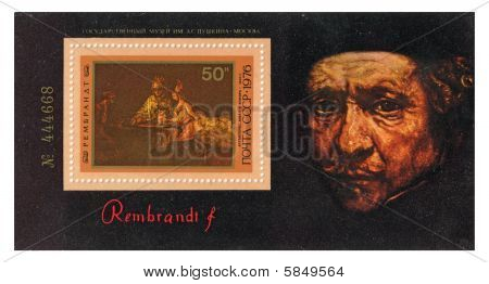 Stamp with Rembrandt's picture on it