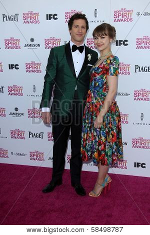 Andy Samberg and Joanna Newsom at the 2013 Film Independent Spirit Awards, Private Location, Santa Monica, CA 02-23-13