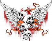 picture of hells angels  - four skulls with wings and ribbons - JPG
