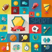 stock photo of goggles  - Background with sport icons in flat design style - JPG