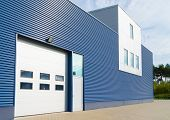 picture of roller door  - exterior of a modern warehouse with office unit - JPG