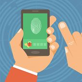 picture of fingerprint  - Vector security concept in flat style  - JPG
