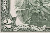 stock photo of two dollar bill  - Close up of 2 dollar bill - JPG