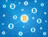 image of bit coin  - Bitcoin currency system peering network links illustration background - JPG