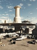 stock photo of buggy  - Busy spaceport in a futuristic science fiction city on a bright sunny day - JPG