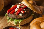 stock photo of portobello mushroom  - Healthy Vegetarian Portobello Mushroom Burger with Cheese and Veggies - JPG