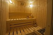 stock photo of sauna  - Interior of a private sauna in luxury health spa - JPG