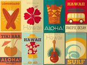 stock photo of hibiscus  - Hawaii Surf Retro Posters Collection in Flat Design Style - JPG