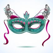 picture of venice carnival  - Red carnival mask with feathers  - JPG