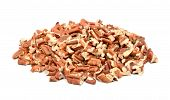 stock photo of pecan  - Chopped pecan nuts isolated on a white background - JPG