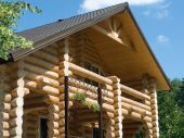 stock photo of log cabin  - Log house structure wood building home exterior - JPG