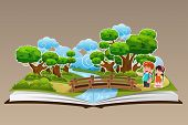 picture of pop up book  - A vector illustration of pop up book with a forest theme - JPG