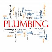 stock photo of nipple rings  - Plumbing Word Cloud Concept with great terms such as pipes fitting plumber and more - JPG