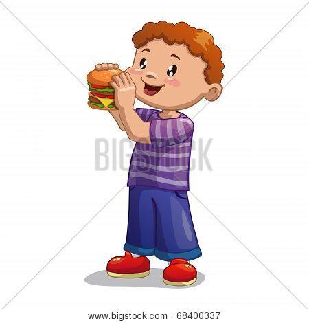 Boy is eating hamburger