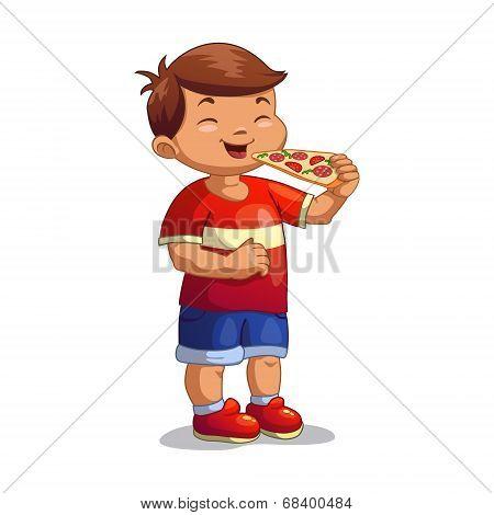 Cartoon boy is eating pizza