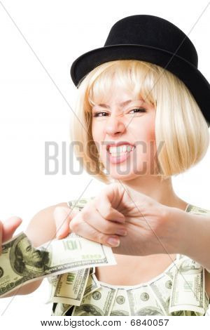 Angry Woman Tear Dollar Apart