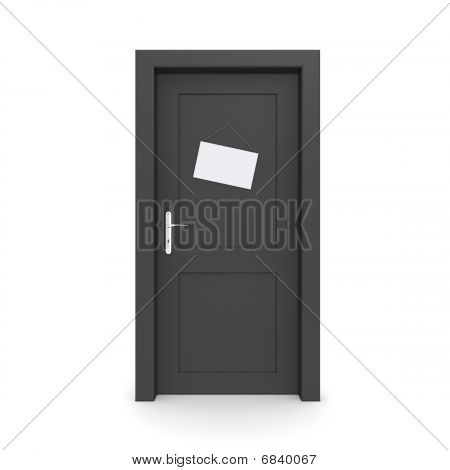 Closed Black Door With Dummy Door Sign