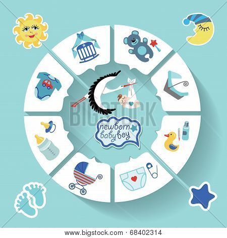 Circle Vector Baby Infographic.new Born Baby Boy