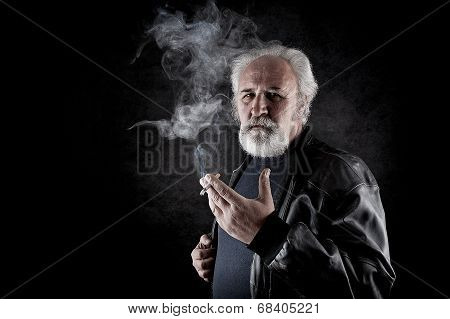 Tough Man Smoking