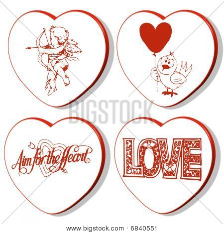 4 Valentines Hearts - Cupid
