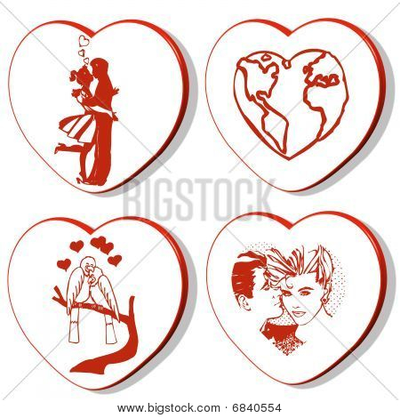 4 Valentines Hearts -  World
