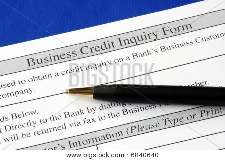 Credit inquiry form isolated on blue